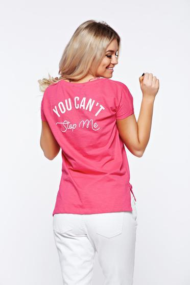 Tricou Top Secret roz casual din bumbac cu croi larg cu print