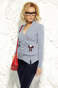 Camasa dama Fofy albastra-deschis office din bumbac elastic cu decolteu in v