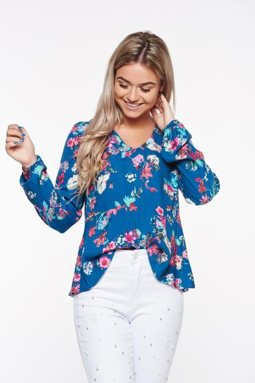 Bluza dama Top Secret albastra casual cu croi larg din material neelastic cu decolteu in v