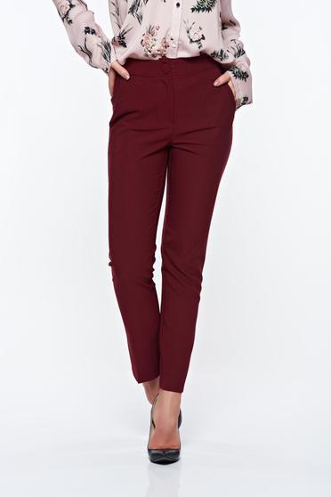 Pantaloni Artista visinii office conici cu talie medie din stofa usor elastica cu buzunare