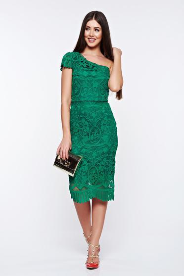 Rochie verde de ocazie tip creion din dantela captusita pe interior