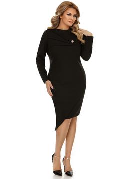 Rochie neagra eleganta asimetrica cu un croi mulat din material usor elastic