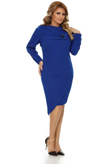 Rochie albastra eleganta asimetrica cu un croi mulat din material usor elastic
