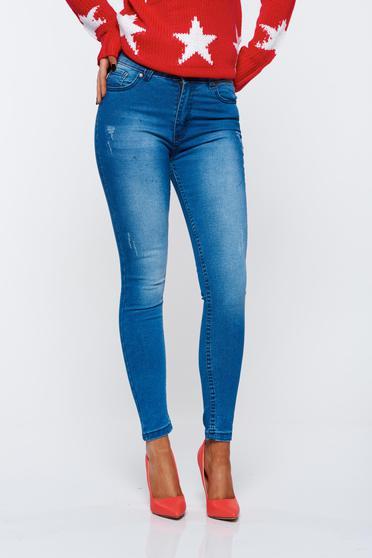 Blugi Top Secret albastri casual skinny din bumbac elastic cu buzunare in fata si in spate