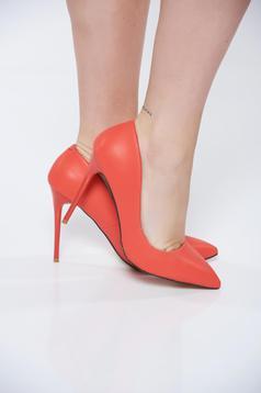 Pantofi corai stiletto office din piele ecologica cu toc inalt si varful usor ascutit
