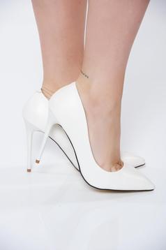 Pantofi stiletto albi office cu toc inalt din piele ecologica