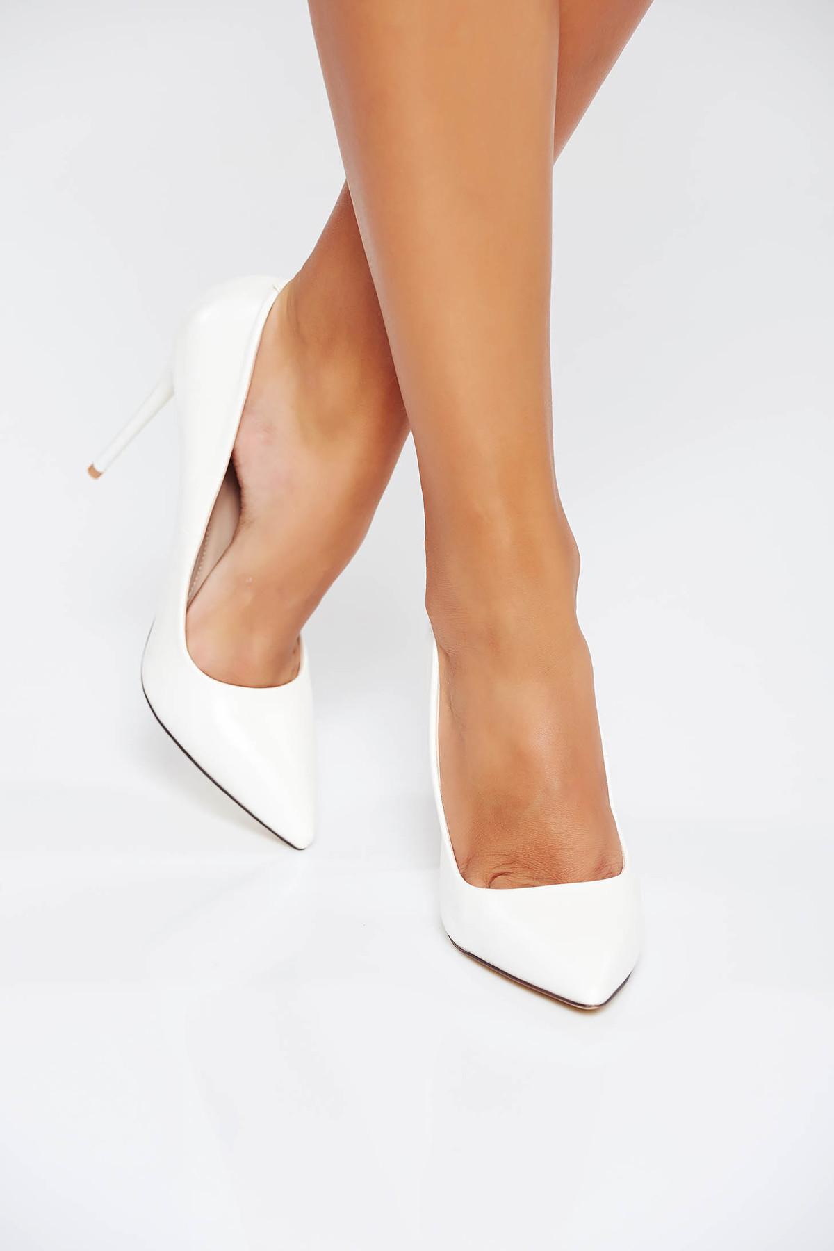 Pantofi alb stiletto office din piele ecologica cu toc inalt cu varful usor ascutit