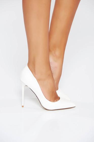 Pantofi albi stiletto office din piele ecologica cu toc inalt si varful usor ascutit