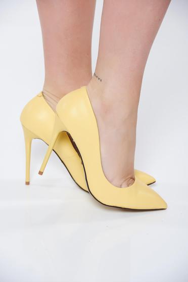 Pantofi stiletto galbeni office cu toc inalt din piele ecologica