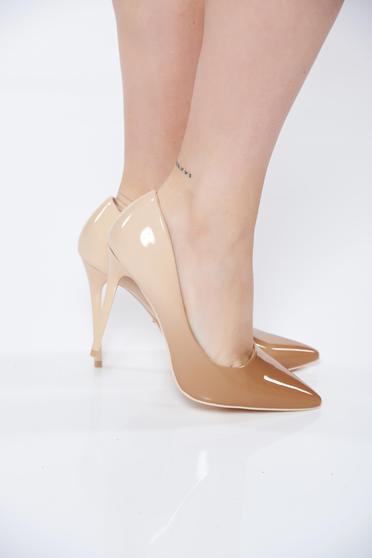 Pantofi crem eleganti cu toc inalt din piele ecologica in debrade