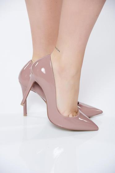 poze cu Pantofi stiletto rosa eleganti cu toc inalt cu varful usor ascutit