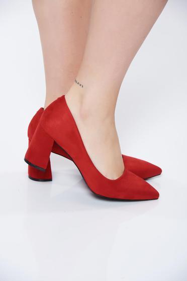 Pantofi rosii office din piele intoarsa ecologica cu toc gros