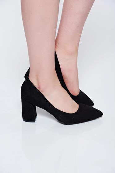 Pantofi negri office din piele intoarsa ecologica cu toc gros