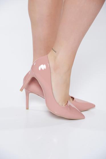 Pantofi stiletto roz eleganti din piele ecologica