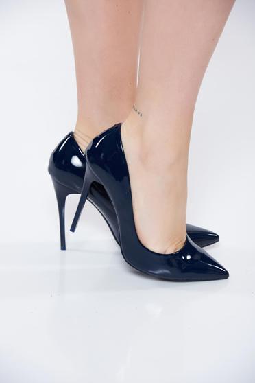 Pantofi stiletto albastru-inchis eleganti din piele ecologica lacuita