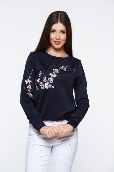 Bluza dama Top Secret albastra-inchis casual brodata cu croi larg din material usor elastic