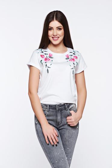 poze cu Tricou Top Secret alb casual din bumbac cu croi larg cu imprimeuri florale