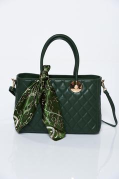 Geanta dama verde office din piele naturala
