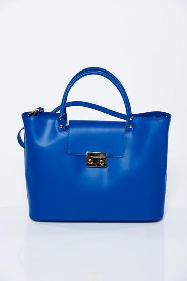 Geanta dama albastra office din piele naturala