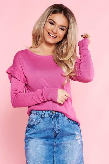 Pulover Top Secret roz casual cu croi larg din material tricotat cu volanase la maneca
