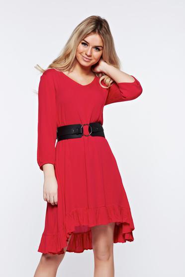 Rochie Top Secret rosie casual cu croi larg cu volanase la baza rochiei