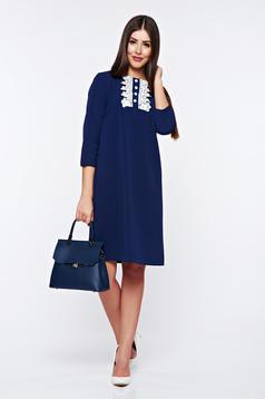 Rochie StarShinerS albastra eleganta din material elastic cu aplicatii de dantela