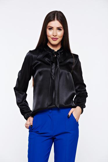 Bluza dama StarShinerS neagra eleganta cu croi larg din material satinat