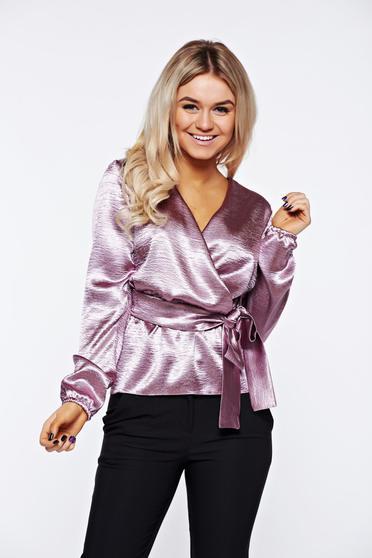 Bluza dama StarShinerS lila eleganta petrecuta din material satinat accesorizata cu cordon