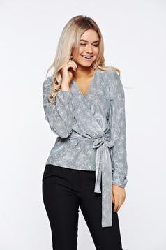 Bluza dama StarShinerS gri eleganta brodata din material elastic cu decolteu