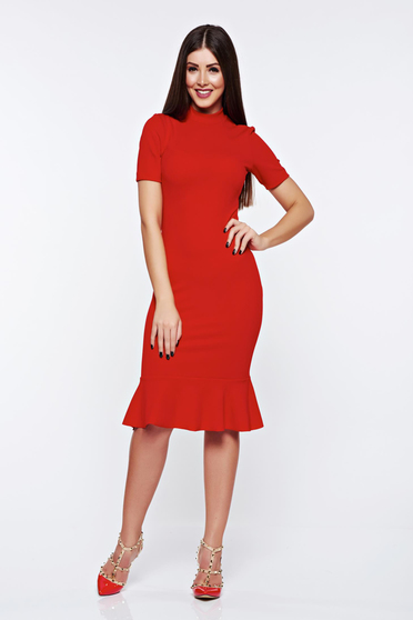 Rochie StarShinerS rosie eleganta cu un croi mulat din material elastic