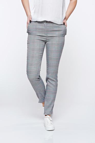 Pantaloni Top Secret gri office conici cu talie medie din stofa usor elastica cu buzunare