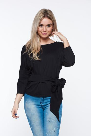 Bluza dama StarShinerS neagra casual cu croi larg cu maneca 3/4