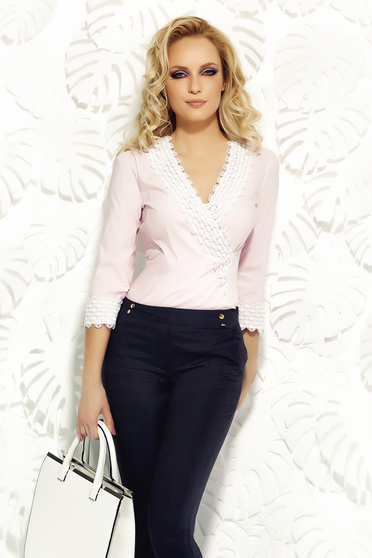 Camasa dama Fofy rosa office din bumbac elastic cu un croi mulat cu aplicatii de dantela tricotata