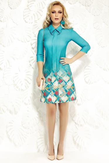 Rochie Fofy albastra de zi cu croi in A din material elastic cu guler