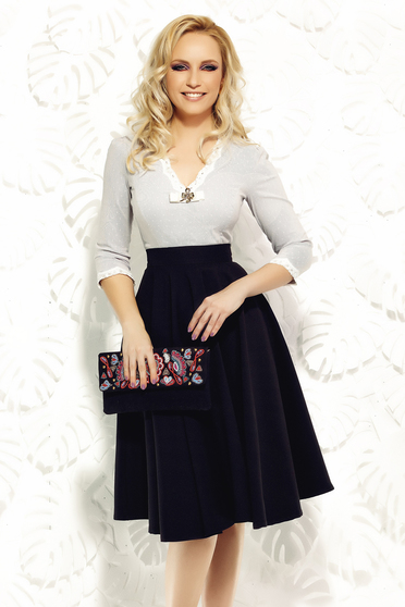 Camasa dama Fofy gri office din bumbac elastic cu aplicatii de dantela tricotata
