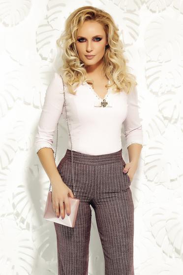 Camasa dama Fofy rosa office din bumbac elastic cu aplicatii de dantela tricotata