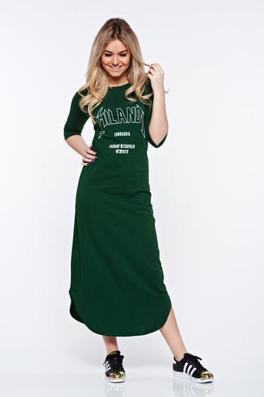 Rochie Top Secret verde-inchis casual cu croi larg din bumbac cu print