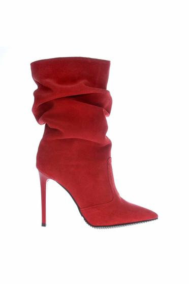 Cizme dama rosii din piele naturala cu toc inalt cu varful usor ascutit