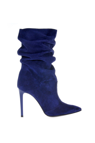 Cizme dama albastre din piele naturala cu toc inalt cu varful usor ascutit
