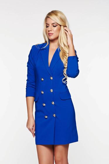 Rochie LaDonna albastra office tip sacou captusita pe interior cu decolteu in v