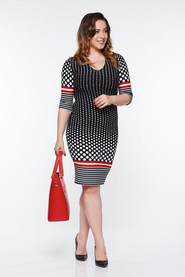 Rochie StarShinerS neagra office tip creion din material elastic cu decolteu in v