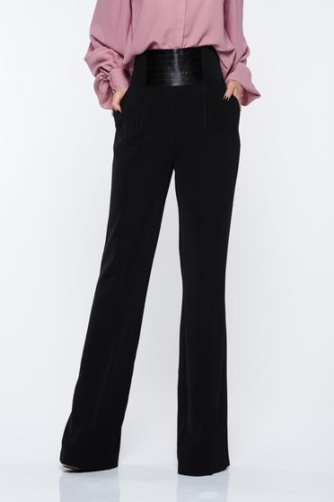 poze cu Pantaloni PrettyGirl negri eleganti cu talie inalta evazati cu buzunare