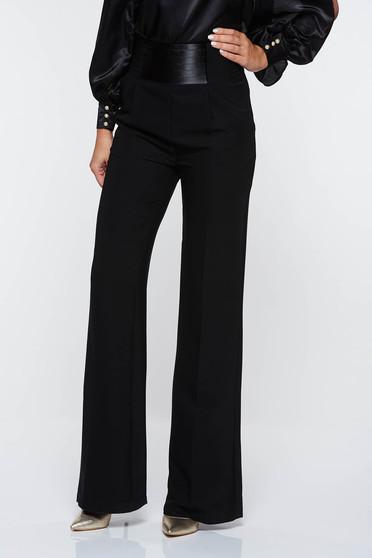 Pantaloni PrettyGirl negri eleganti cu talie inalta evazati cu buzunare