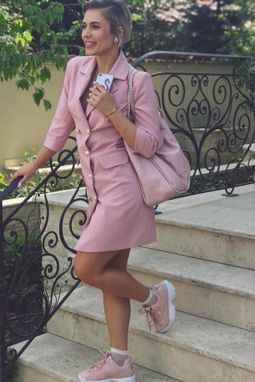 Rochie LaDonna rosa office tip sacou captusita pe interior cu decolteu in v