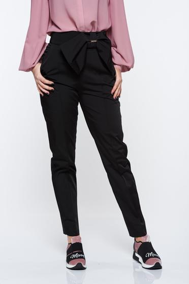 poze cu Pantaloni PrettyGirl negri office conici cu talie inalta din material usor elastic