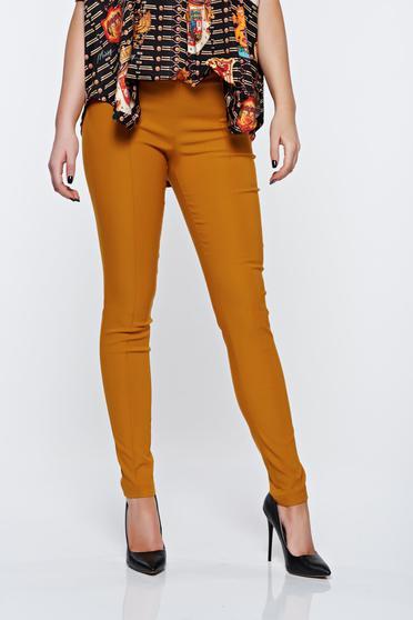 Pantaloni PrettyGirl mustarii office conici cu talie inalta cu buzunare