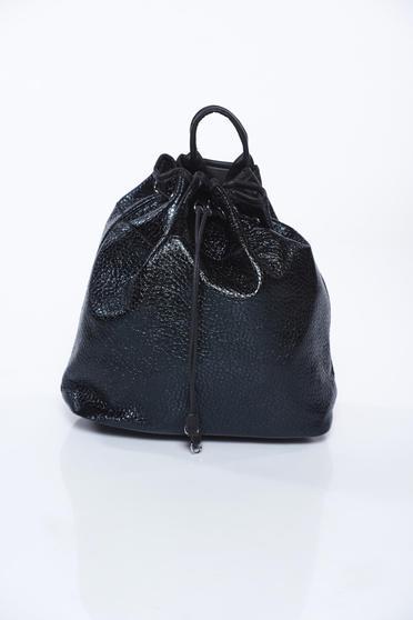 Geanta dama neagra casual din piele ecologica cu aspect metalic