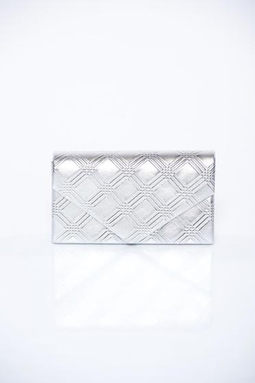 Geanta dama argintie plic eleganta cu maner lung tip lantisor