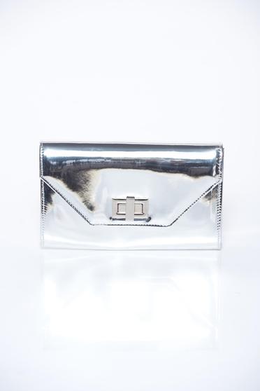 poze cu Geanta dama argintie plic eleganta din material lucios