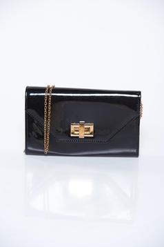 Geanta dama neagra plic eleganta din material lucios